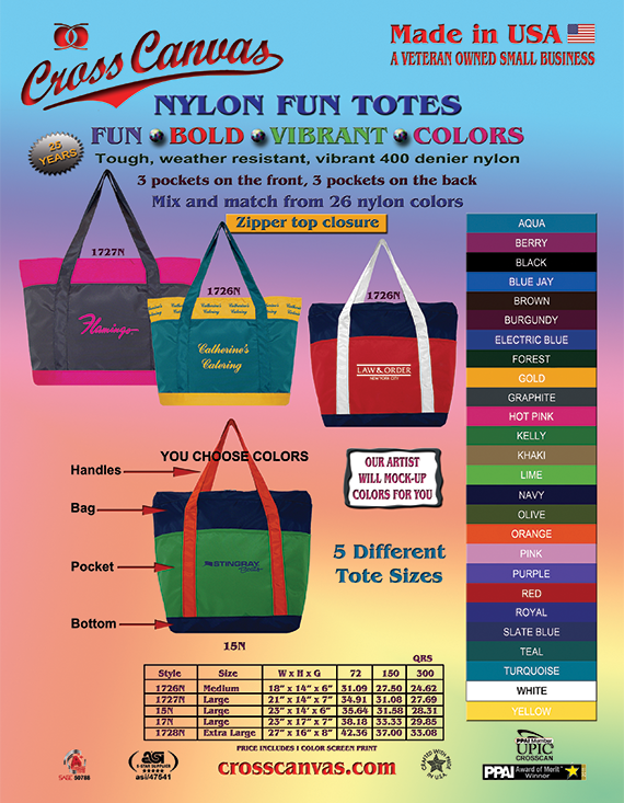 Cross Canvas Company Nylon Fun Totes Catalog